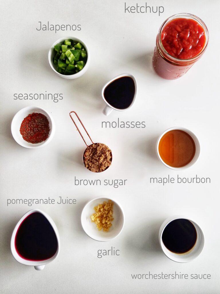 photo of jalapeno pomegranate bbq sauce ingredients recipe found on mandyolive.com