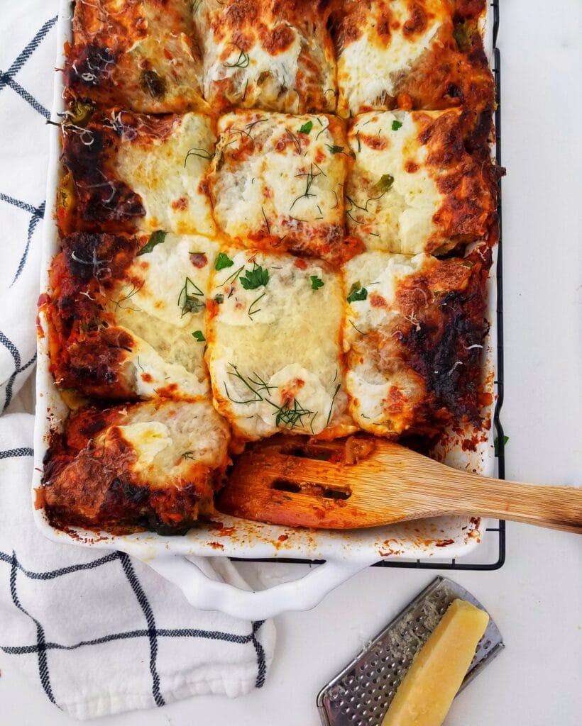 pesto mushroom bolognese lasagna recipe found on mandyolive.com