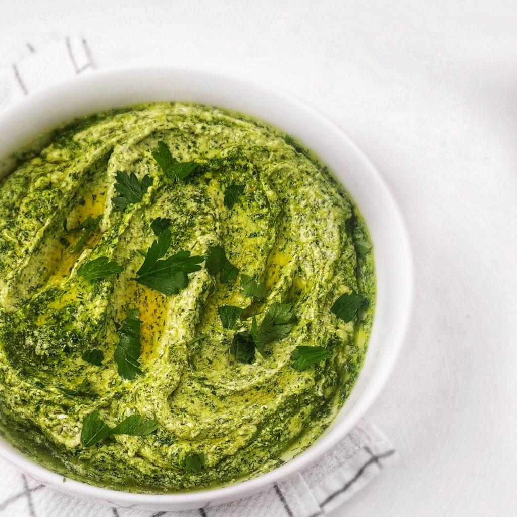 creamy pesto ricotta recipe found on mandyolive.com