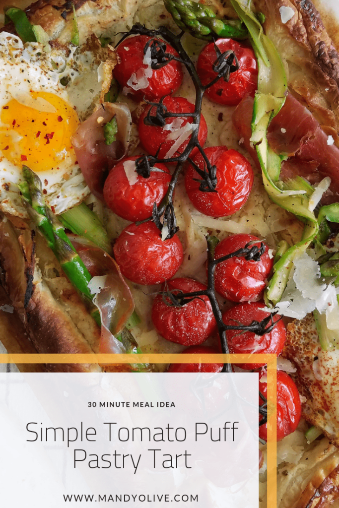 30 minute simple tomato tart.   galette cherry tomatoes shaved asparagus fried eggs puff pastry dinner recipes brunch recipes breakfast ideas