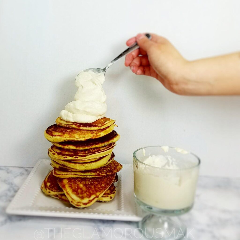 Give your mornings and interesting twist with these fluffy lemon pancakes with blueberries, ricotta and almond flour. This blueberry pancake recipe is easy to make from scratch. Simply serve with maple syrup or maple whipped cream to amp up your breakfast.