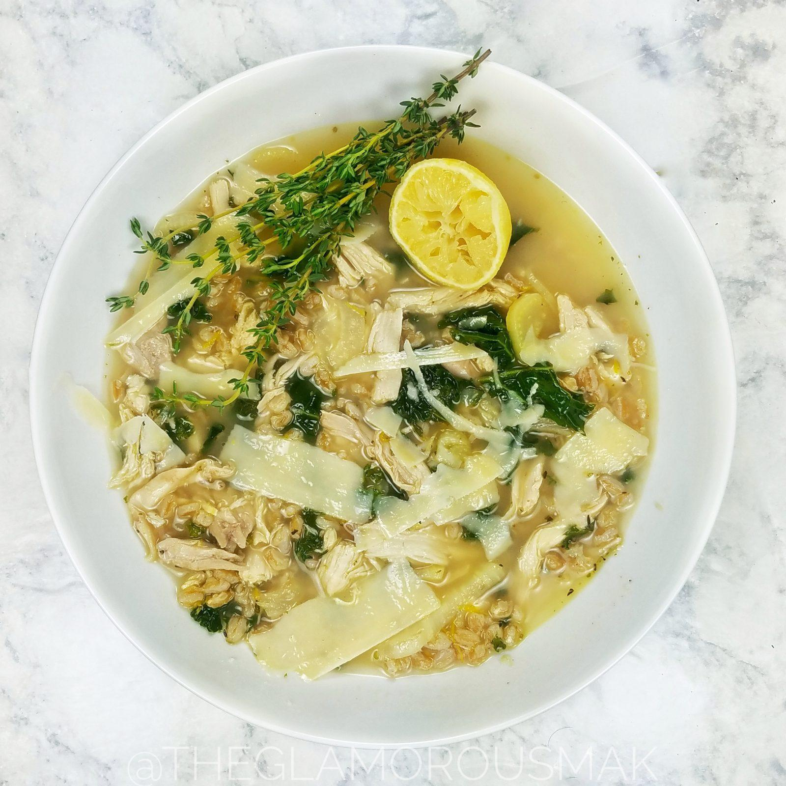 This is the best chicken soup recipe with farro and kale is a quick and easy low carb weeknight meal made in 30 minutes or less with only 10 ingredients. This fall/winter soup is made with chicken, broth, lemon, fennel and kale that's healthy, simple and better than chicken noodle or chicken and rice. Eat as a main dish, dinner or lunch. Makes great leftovers. Perfect for weightloss and even the kids will love it!