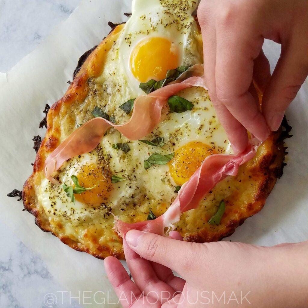 margarita breakfast pizza adding prosciutto